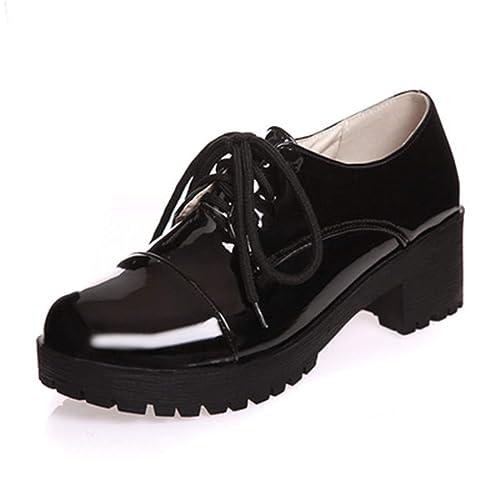 Mujeres Plataforma Creeper Oxfords Zapatos De Charol con Cordones Roma Tacones De CuñA Casual Brogue Shoes: Amazon.es: Zapatos y complementos