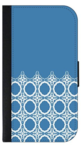 (BLUE Framed Damasks Pattern TM Case for the Apple Ipad Air Version 1 Black PU Leather and Suede Case Made in the U.S.A.)