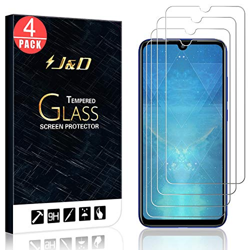 J&D Compatible for 4-Pack Redmi Note 7 / Redmi Note 7 Pro Glass Screen Protector, [Tempered Glass] [Not Full Coverage] Ballistic Glass Screen Protector for Xiaomi Redmi Note 7 Screen Protector