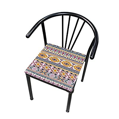 Bardic HNTGHX Outdoor/Indoor Chair Cushion Tribal Geometric Aztec Square Memory Foam Seat Pads Cushion for Patio Dining, 16