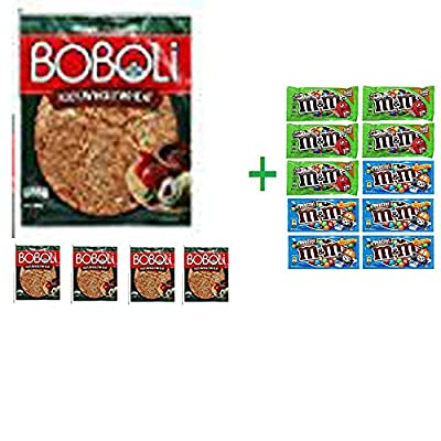 Boboli 100% Whole Wheat Pizza Crust 10 OZ (Pack of 5) + 10 Pack of M&M Milk Chocolate 1.69oz ( BUNDLE )