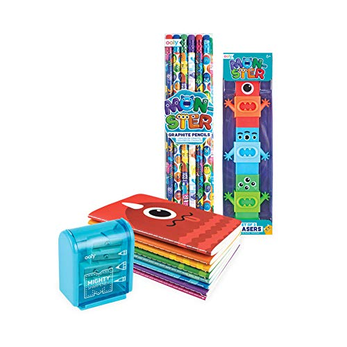 Ooly Happy Pack, Graphite Pencils + Erasers + Sharpener + Pocket Notebooks - Monster Pals ()
