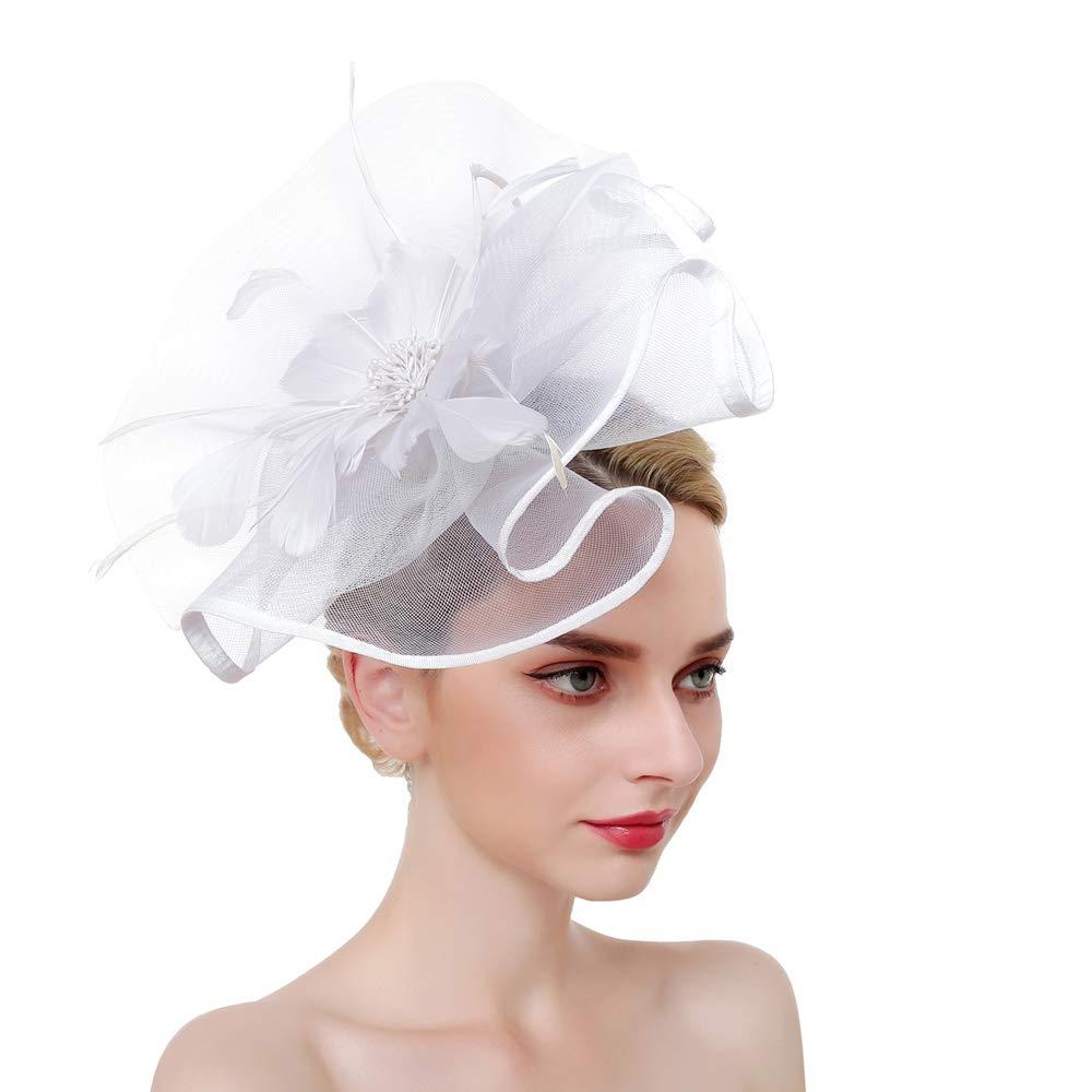 SMSW Vintage Fascinators Top Hat Women Wedding Cocktail Headband Tea Party Hair Clip Kentucky Derby Headwear White