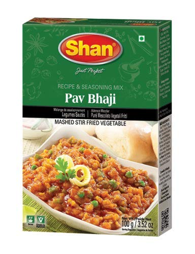 Shan Pav Bhaji Recipe and Seasoning Mix- 50g Spice Powder, Mix for Punjabi Style Mild Chickpeas Curry.