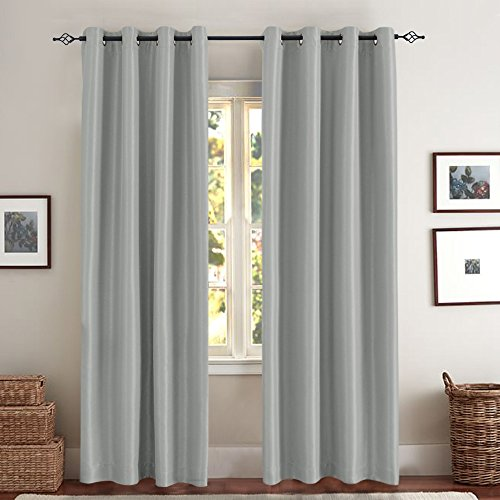 Faux Silk Satin Blackout Curtains for Living Room Luxury Dupioni Thermal Insulated Grommets Top Drapes for Bedroom, (50-inch x 84-inch, Grey, Pack of Two)