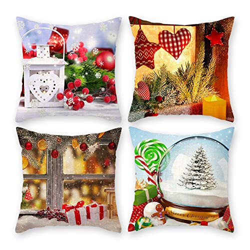 Christmas Pillow Covers 18'x18' Decorative Red Santa Cushion Cases Set of 4 for Home, Dorm, Office and Car (Christmas Candies)
