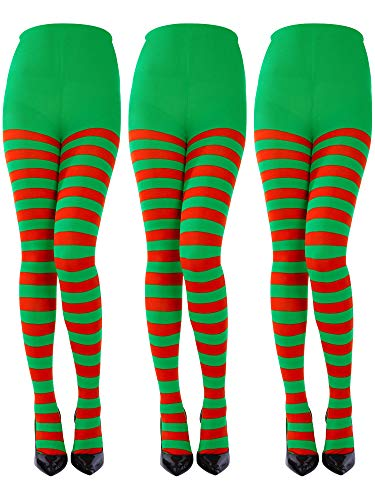 Sumind 3 Pairs Christmas Full Length Striped Tights Thigh High Stocking for Women Christmas Saint Patrick's Day (Red/Green, Adult Size) ()
