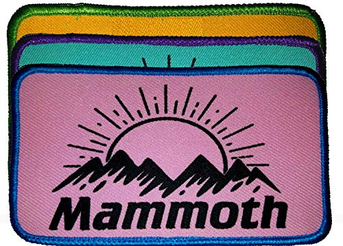Mammoth Mountain Ski Snowboard Neon Embroidered Patch Iron On 3x5 California (Pink/Teal)