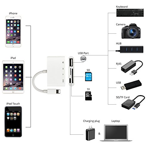 SD TF Card Reader Adapter,4 in 1 Lightning to USB Camera Connection Kits,Trail Game Camera Viewer OTG Cable for iphone x 8 8plus for ipad series - No Need APP - Compatible with ios 11.2 by UWECAN (Image #2)