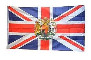 Digni Bandera de Gran Bretaña con escudo de armas, 2x 91,44cm + libre Adhesivo