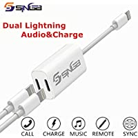 SINGB iPhone 7 Splitter and Lightning Splitter iPhone 7 Adapter Dual Lightning Adapter Headphone Jack Audio and Charge Cable Adapter for iPhone 7/7 Plus (Support iOS 10.3 and Later)