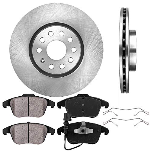 FRONT 312 mm Premium OE 5 Lug [2] Brake Disc Rotors + [4] Ceramic Brake Pads + Clips