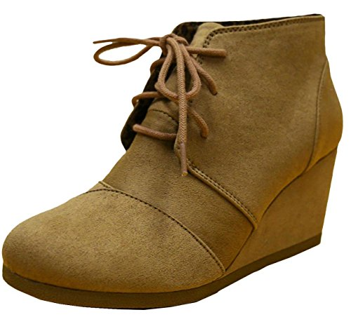 Cambridge Select Women's Lace Up Wedge Heel Ankle Bootie (8 B(M) US, Natural IMSU)