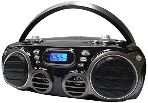 Sylvania SRCD682BT Bluetooth CD Portable Boombox w/ AM/FM Tuner Black (Renewed)