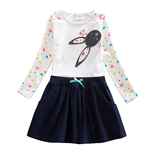 VIKITA 2017 New Kid Girl Embroidery Cotton Dress Long Sleeve LH5922WHITE 2-3 Years