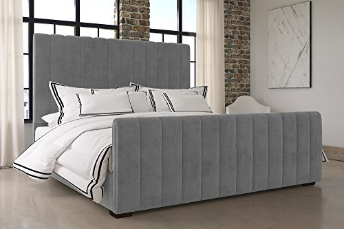 DHP Dante Upholstered Bed with Luxurious Velvet Upholstered Design, King Size - Grey Velvet - Luxurious vertical channel bed Velvet upholstery with a mid-century style Slat support system - bedroom-furniture, bed-frames, bedroom - 51IHpp8pJIL -