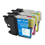 3 Pack - Compatible Ink Cartridges for Brother LC-61 LC-61 LC61 XL LC-61C LC-61M LC-61Y Inkjet Cartridge Compatible With Brother DCP-165C DCP-375CW DCP-385CW DCP-395CN DCP-585CW DCP-J125 MFC-250C MFC-255CW MFC-290C MFC-295CN MFC-490CW MFC-495CW