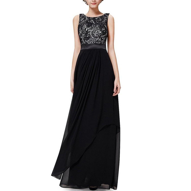 YiZYiF Damen Elegant Sommer Trägerkleid Faltenrock Rundhals Cocktailkleid Spitzen Langes Kleid Schwarz Gr. S-3XL