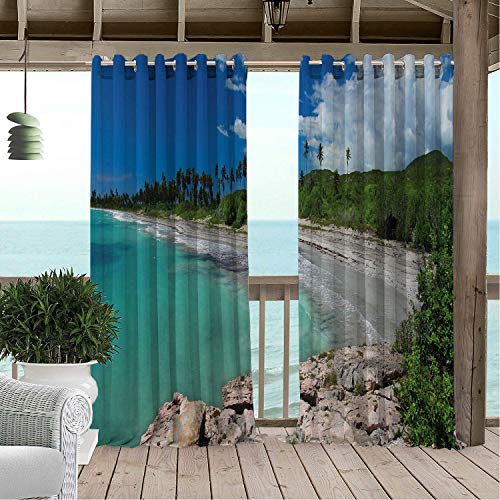 (Outdoor Waterproof Curtain Puerto Rico Day at The Beach of Guanica Reserve Tropical Style American Land Photograph Multicolor pergola Grommets Decor Curtain 120 by 96 inch)