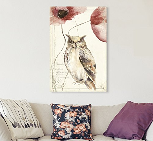 Vintage Style Owl Poppy Flowers on Floral Background