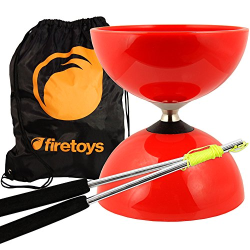 Red Big Top - Jumbo Bearing Diabolos Set, Ali Dream Metal Diablo Sticks, Diabolo string & Firetoys® Bag!