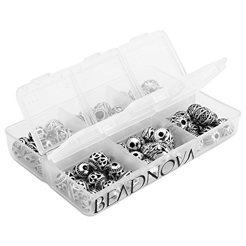BEADNOVA 60pcs 8mm Tibetan Silver Round Hollow Spacer Charm Beads for Jewelry Findings Making with Free Plastic Container Mix Lot Box Set Assortment