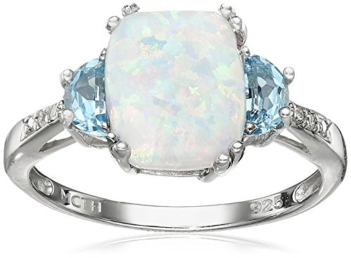 Sterling Silver Simulated Opal, Blue Topaz, and Diamond Accent Ring, Size - Diamond Accent Ring Blue