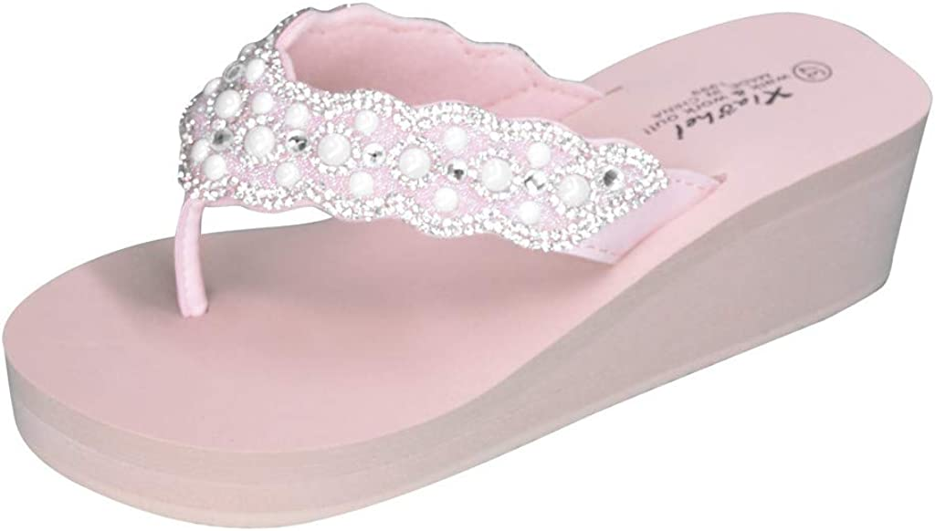 5 UK, Pink Slippers for Women Fashion Rhinestones Wedges Flip Flops Sandals Summer Casual Beach Shoes Size 3 4 5 6 TM Muium