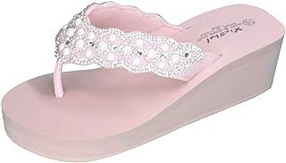 HIRIRI Summer Slippers Rhinestones Wedges Flip Flops Women's Sequin Shoes Comfort Beach Sandal