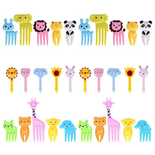 30 Pieces Convenient Forks Picks,Food & Fruit & Dessert Sandwich Appetizer Bento Forks Picks for Kids ,Mini Cute Cartoon Animal Forks for Bento Lunch Box,kids Party Choose