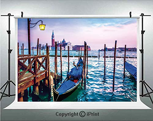 (Venice Photography Backdrops Dreamy Evening View of Famous Italian City Architecture Water and Gondolas,Birthday Party Background Customized Microfiber Photo Studio Props,10x6.5ft,Lilac Blue Brown)