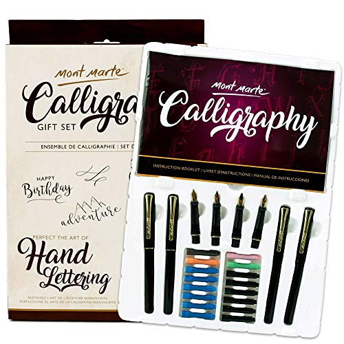 Mont Marte Calligraphy Pen Set 26 Piece. Includes Calligraphy Pens, Calligraphy Nibs, Ink Cartridges, Introduction Booklet and Exercise Booklet. ()