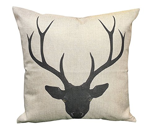 Do4U Square Cotton Linen Throw Cushion Pillow Cover Case 18x18 inches (Animal) (Deer Head) (Deer Pillow Cover)
