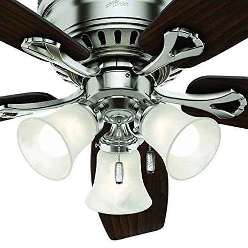 Hunter 52'' Brushed Nickel Finish Casual Ceiling Fan with Light Kit (Certified Refurbished) by Hunter Fan Company (Image #2)