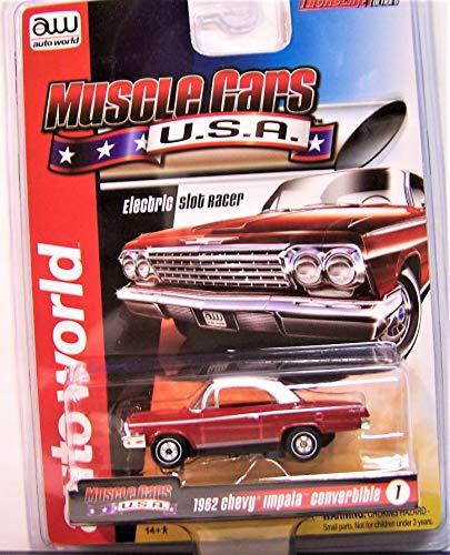 Auto World red 1962 Chevy Impala Convertible Ho Scale Slot car