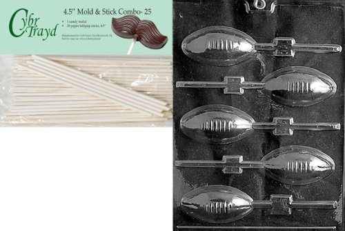 Cybrtrayd 45St25-S026 Football Lolly Sports Chocolate Candy Mold with 25-Pack 4.5-Inch Lollipop Sticks ()