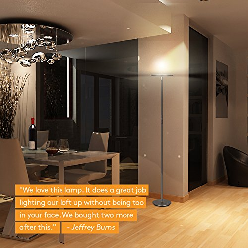 Brightech Sky LED Torchiere Super Bright Floor Lamp - Tall Standing Modern Pole Light for Living Rooms & Offices - Dimmable Uplight for Reading Books in Your Bedroom etc - Dark Bronze by Brightech (Image #6)