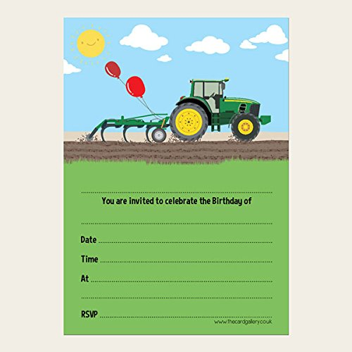 Pack of 10 Green Farm Tractor Kids Birthday Invitations