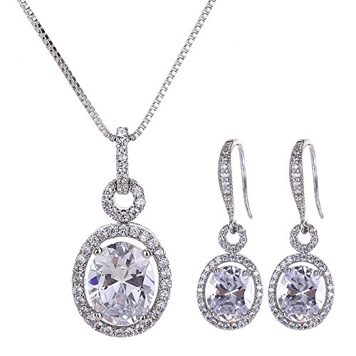 AMYJANE Bridal Jewelry Set for Women - Sterling Silver Cubic Zirconia Crystal Oval Halo Necklace and Dangle Earrings Set Fashion Jewelry Set