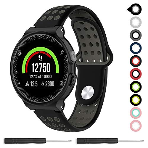 Meifox Compatible with Garmin Forerunner 235 Band,Soft Silicone Replacement Band for Garmin Forerunner 220/230 / 235/620 / 630 / 735XT Watch (Black/Gray, Large)