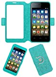 Acm SVIEW Window Designer Rotating Flip Flap Case for Micromax Bolt A067 Mobile Smart View Cover Stand Turquoise
