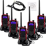 Retevis RT5 2 Way Radio 7W VHF/UHF 136-174/400-520 MHz 128CH Walkie Talkies VOX FM Ham Amateur Radio Handheld Transceiver with Original Earpiece (5 Pack) and Programming Cable