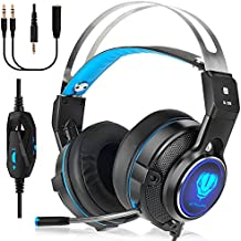 Gaming Headset for XBOX One, Noise Canceling PS4 Headset, Wired Over Ear Headphones with Mic for PC, Laptop, Mac (Black/Blue)