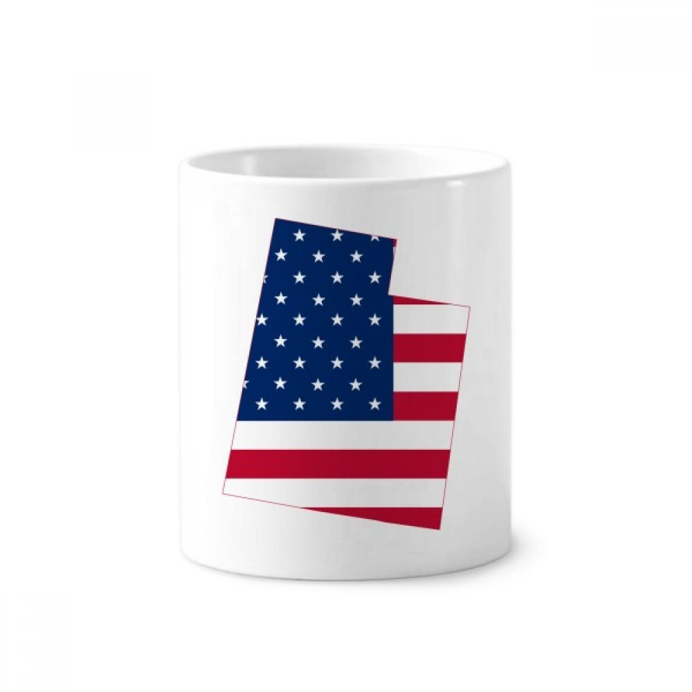 Utah America USA Map Stars Stripes Flag Toothbrush Pen Holder Mug White Ceramic Cup 12oz