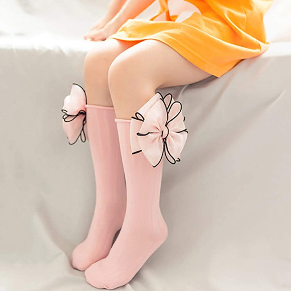 Sukisuki 1 Pair Lovely Bowknot Baby Girls Long Socks Solid Color Soft Breathable Cotton Casual Socks Gift
