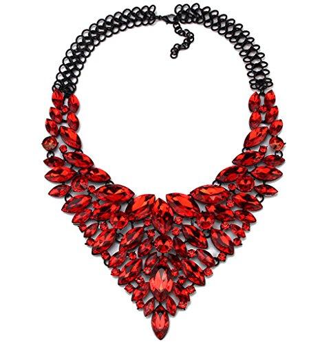 Women's Multi-Row Rhinestone Crystal Strand Bib Statement Choker Collar Necklace (Red)