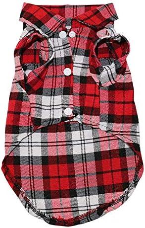 ELYQGGG para Mascotas Ropa para Perros Soft Cachorro de Primavera y Verano Camisa de leñador Trajes Ropa del Animal doméstico para los pequeños Perros Camisetas Chihuahua Ropa 1C28 Red XS: Amazon.es: Productos