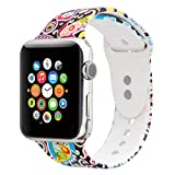 Floraler Sport Band for Apple Watch 42mm, Soft Silicone Strap Replacement Wristbands for Apple Watch Sport Series 3 Series 2 Series 1(Floral-21 42 S/M)