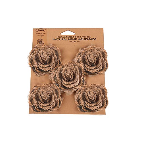 Junxia Burlap Rose Natural Linen Flowers for Wedding Party Decoration (Brown, 6CM)