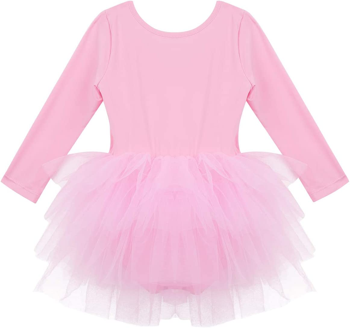 MSemis Kids Toddlers Girls Long Sleeves Gymnastics Ballet Tutu Dress Leotard Ballerina Dance Dress Jumpsuit Dancewear
